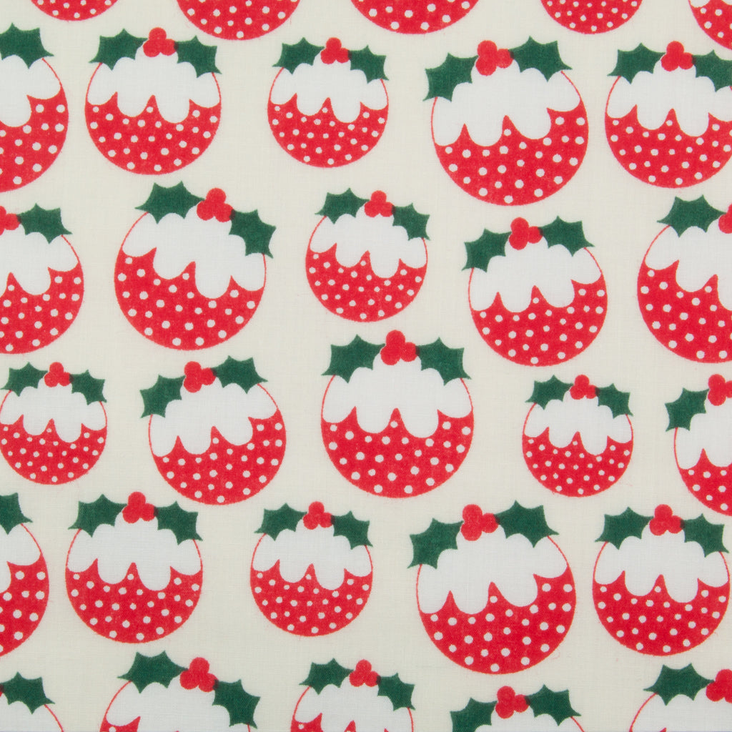 Christmas Puddings - Christmas Polycotton
