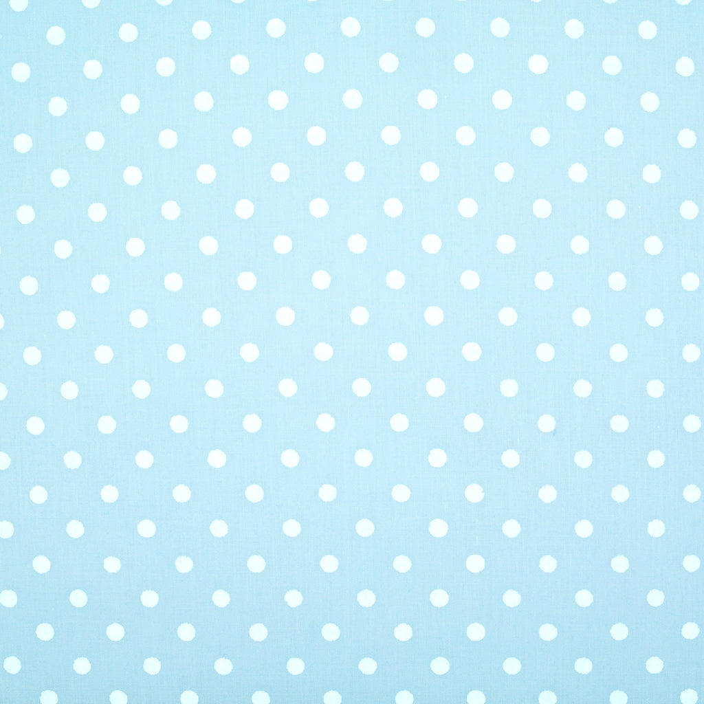 White Pea Spot on Pastel Blue - Polycotton