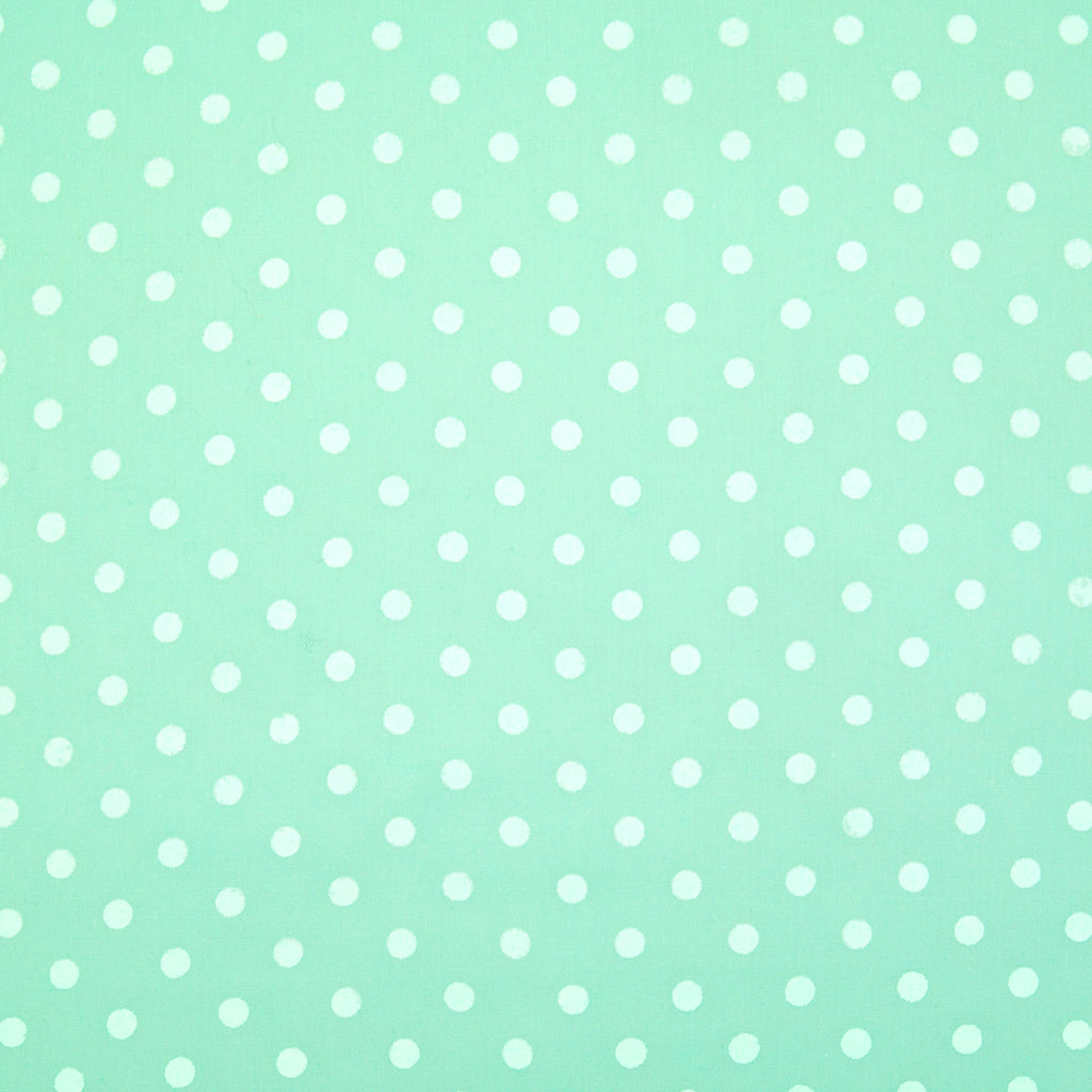 White Pea Spot on Pastel Mint Green - Polycotton