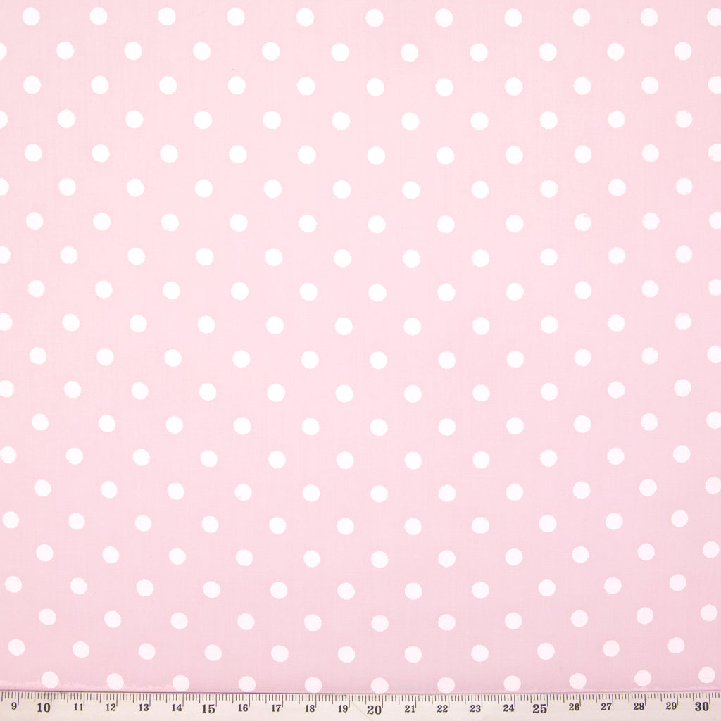 White Pea Spot on Pastel Pink - Polycotton
