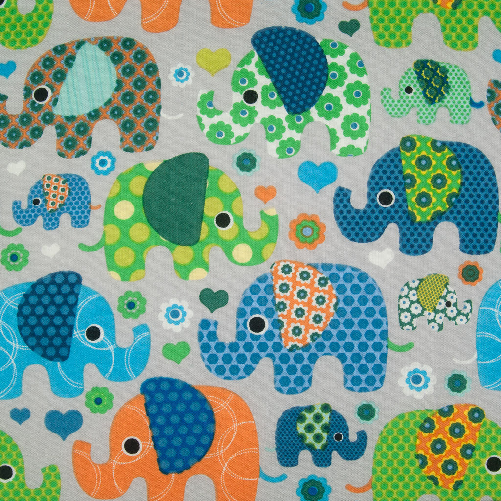 Patchwork Elephant -  100% Cotton Fabric - Grey