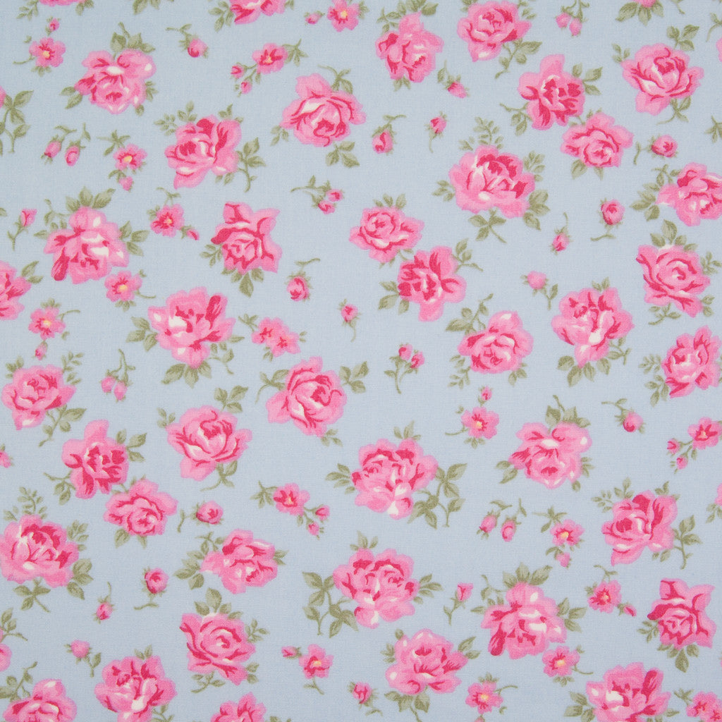 Rose & Hubble - Vintage Dusky Rose - 100% Cotton Poplin - Blue