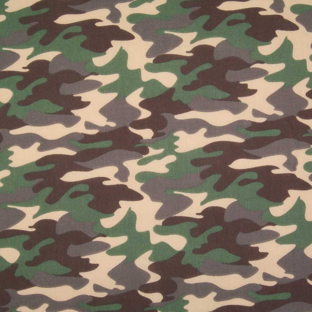 A camouflage design in beige, brown and khaki on a polycotton fabric