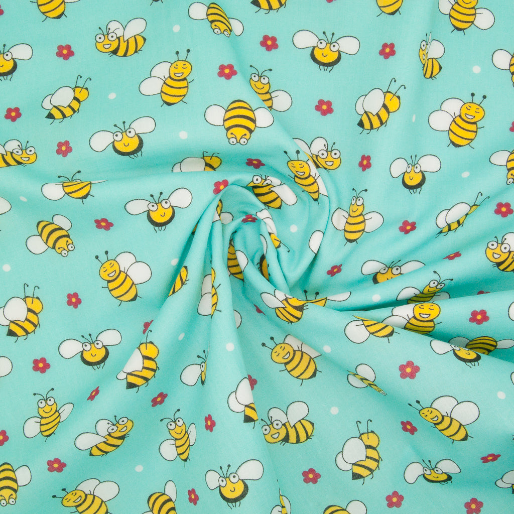 Happy Bumble Bee & Flower on Aqua - Polycotton Fabric
