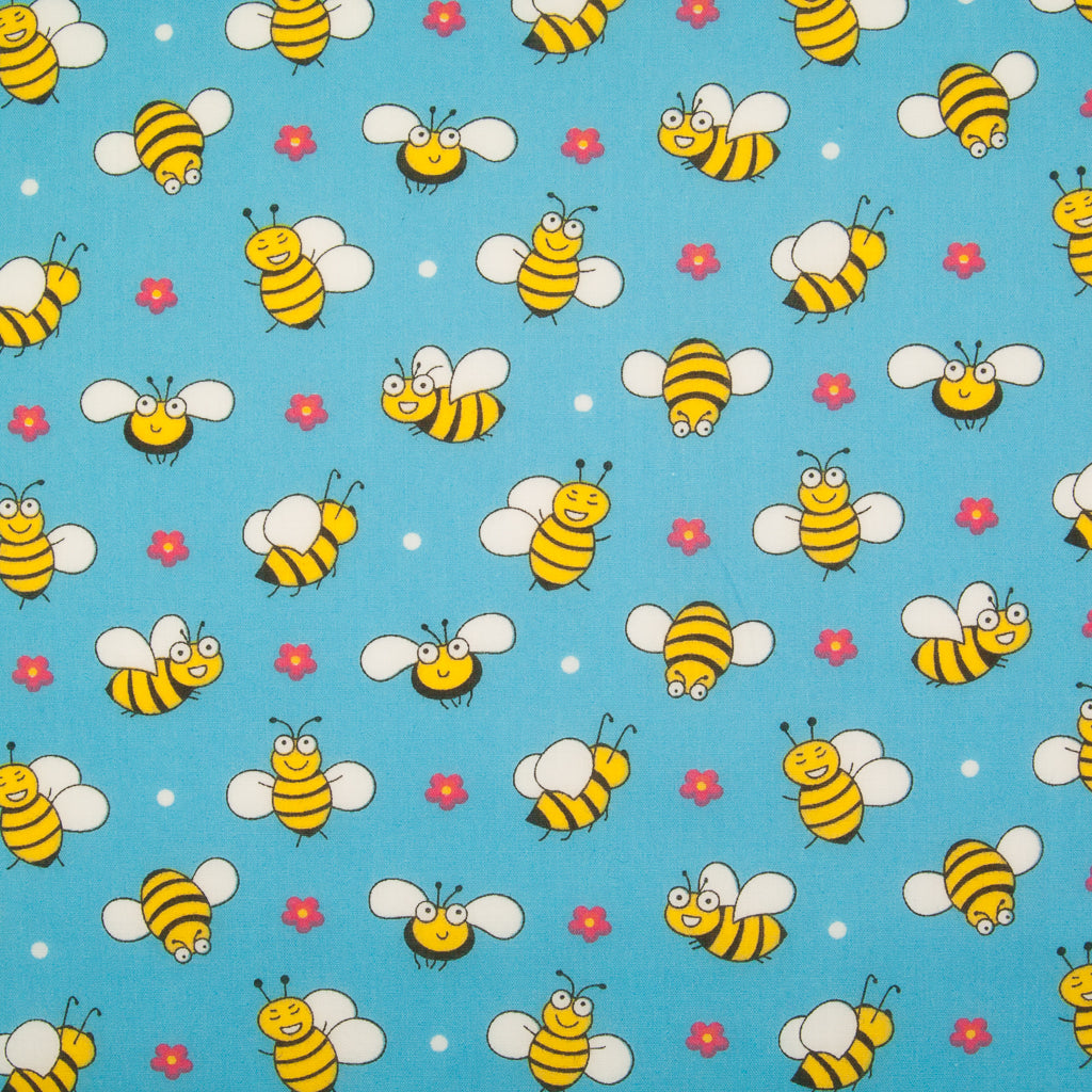 Happy Bumble Bee & Flower on Blue - Polycotton Fabric