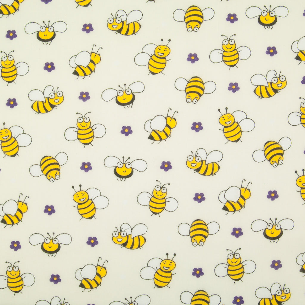 Happy Bumble Bee & Flower on Cream - Polycotton Fabric