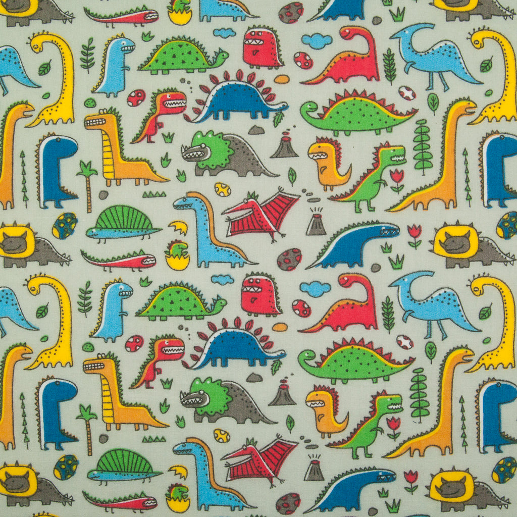 Land of the Dinosaur on Silver - Polycotton Fabric