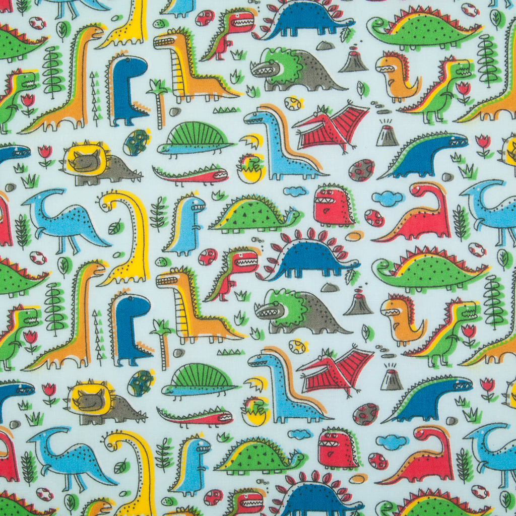 Land of the Dinosaur on Sky - Polycotton Fabric