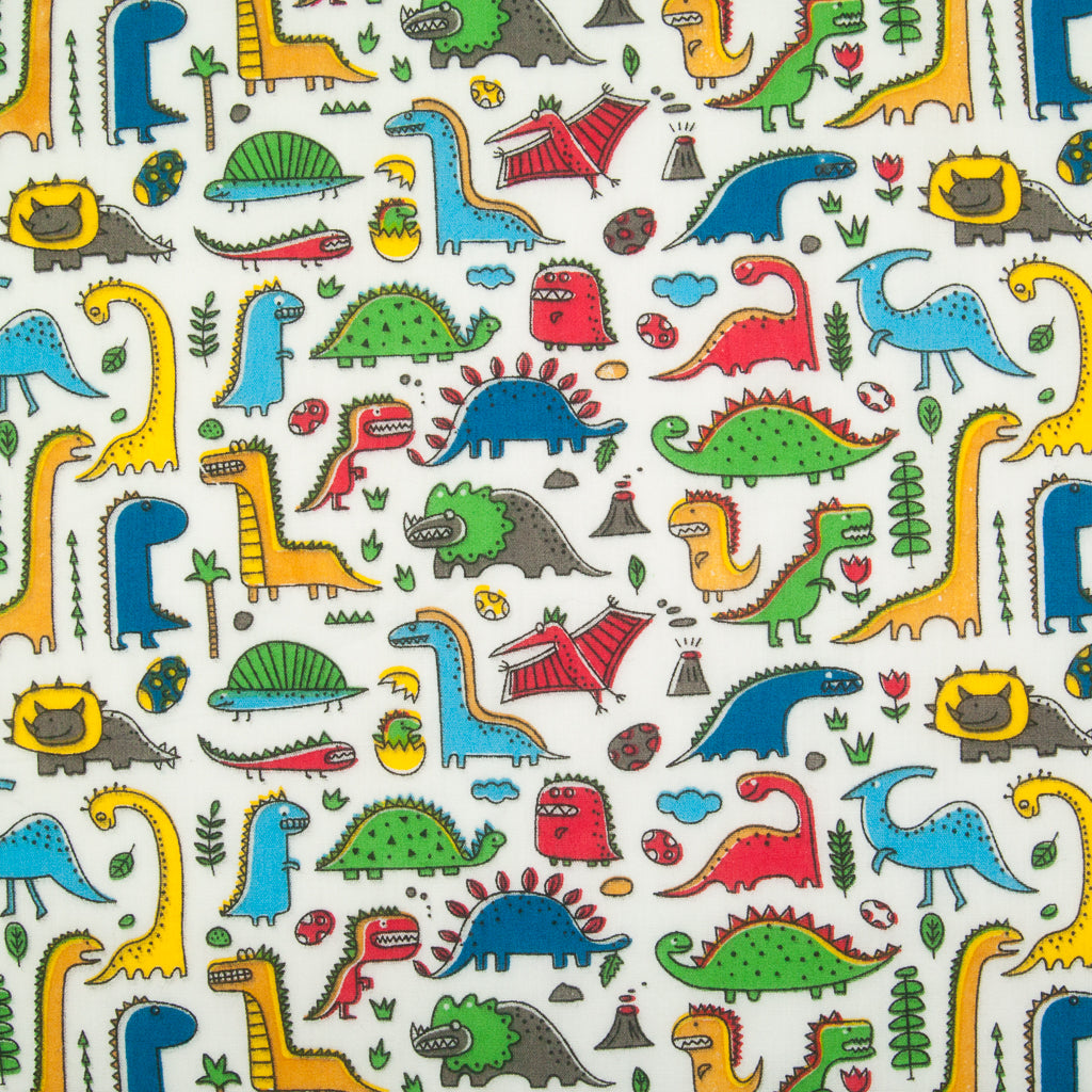 Land of the Dinosaur White - Polycotton Fabric