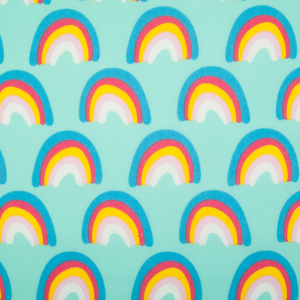Colourful Rainbow on Aqua - Polycotton Fabric