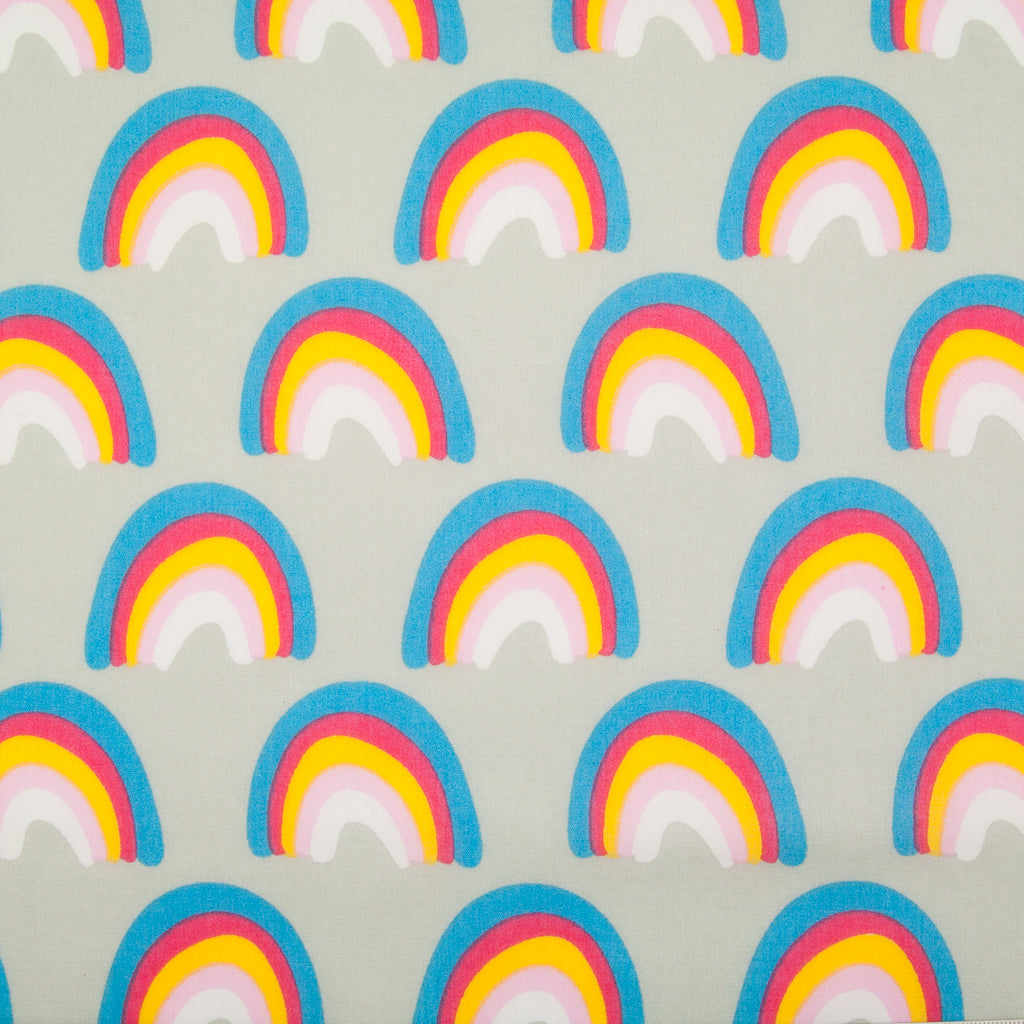 Colourful Rainbow on Silver - Polycotton Fabric