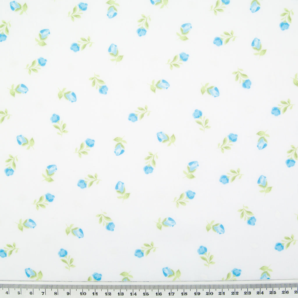 Baby Rose - Blue on White Polycotton
