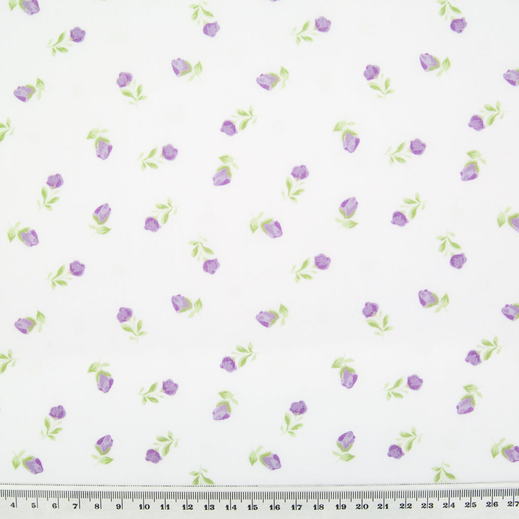Baby Rose - Lilac on White Polycotton