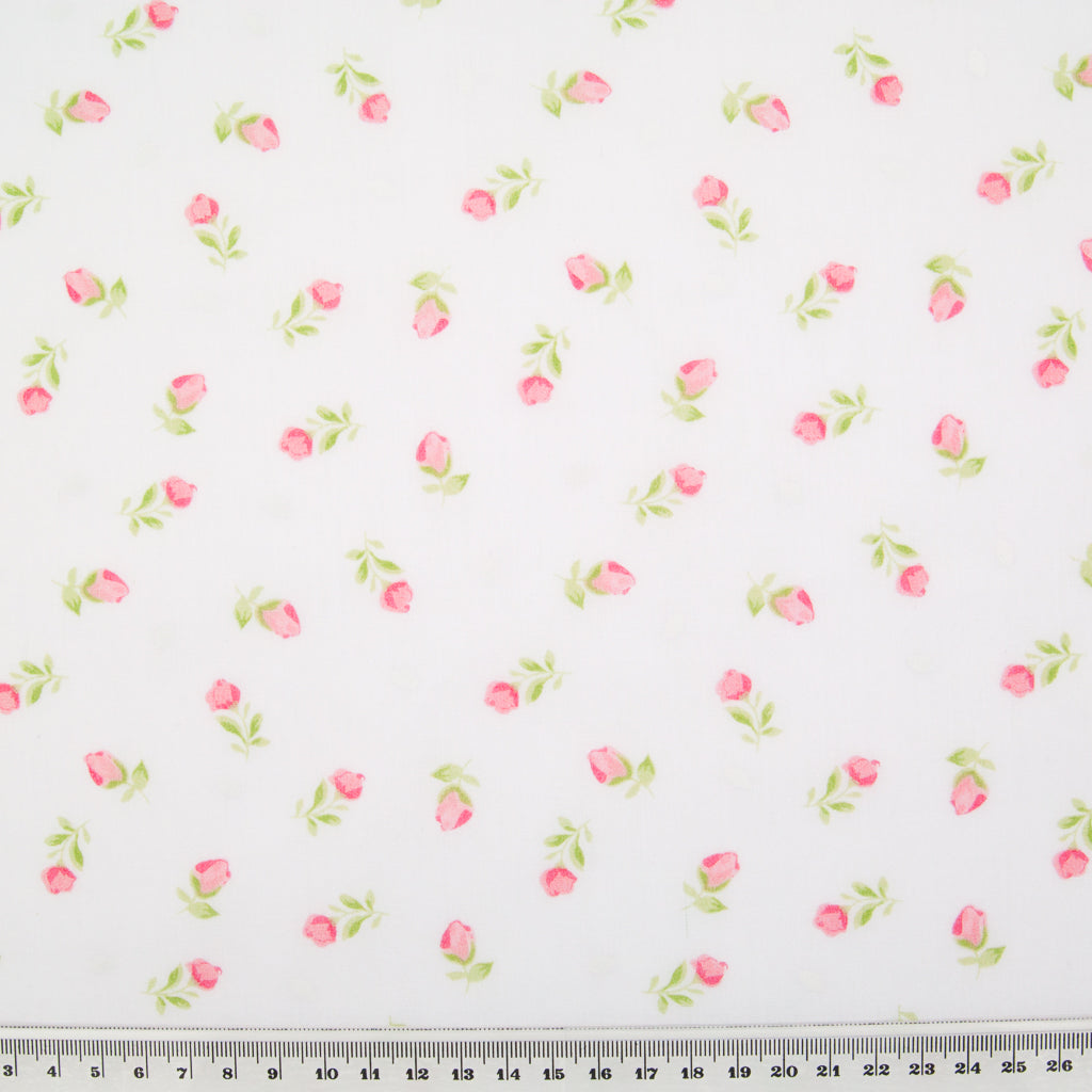 Baby Rose - Pink on White Polycotton