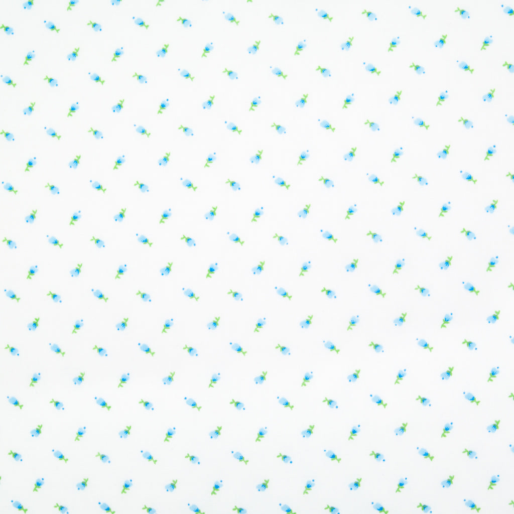 Mini Tulip - Blue on White Polycotton