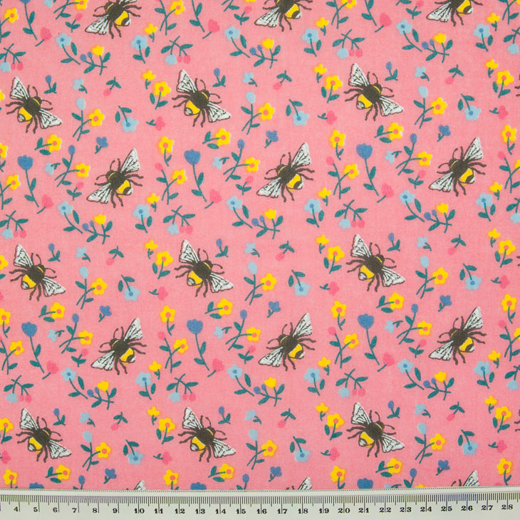 Bee & Flower on  Pink - Polycotton Fabric