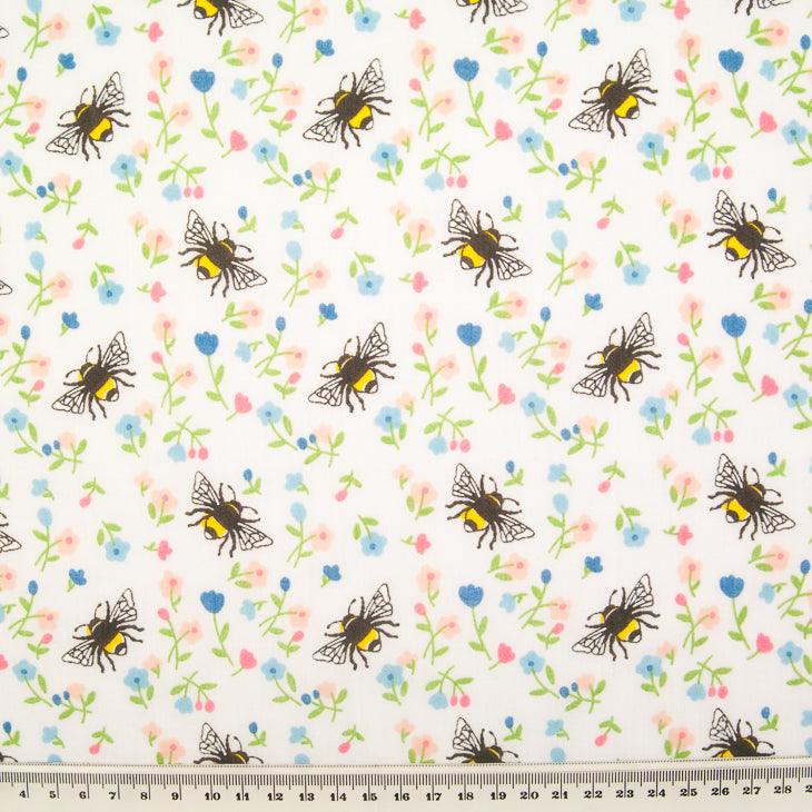 Bee & Flower on White - Polycotton Fabric