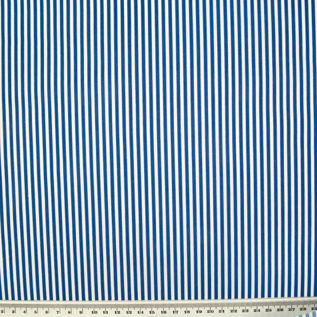 Candy Stripe Polycotton - Royal Blue and White