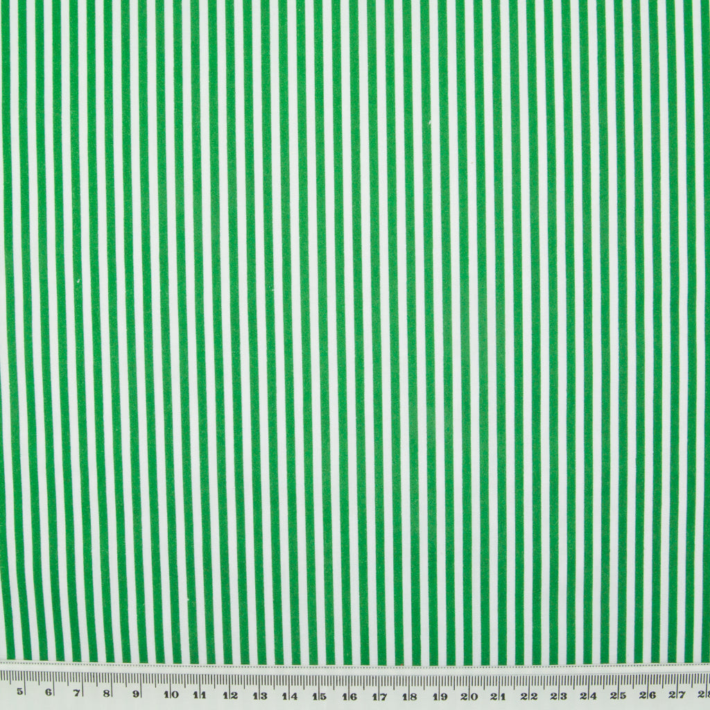 Candy Stripe Polycotton - Green and White