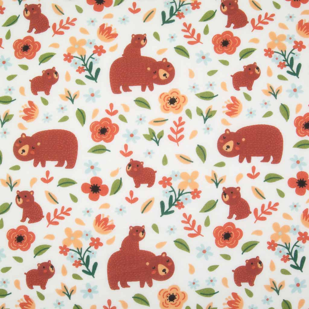A big brown mummy bear and her baby printed with green leaves on a white polycotton fabric