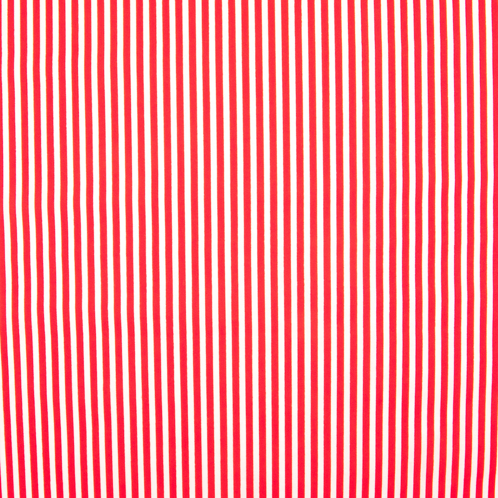 Candy Stripe Polycotton - Red and White