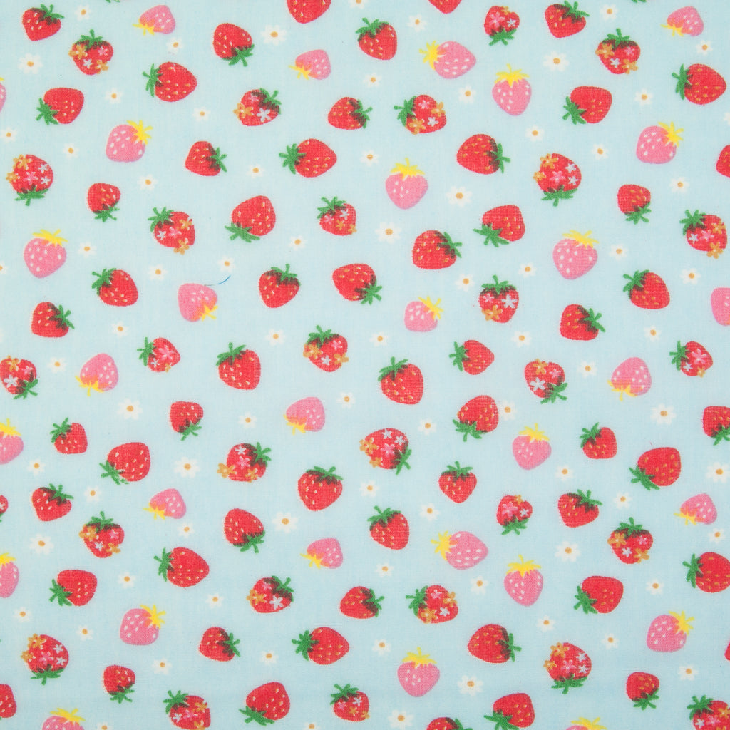 Scattered Mini Strawberries on Sky Blue - Polycotton Fabric