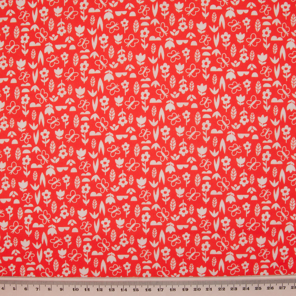 Ditsy White Tulip on Red - Polycotton Fabric
