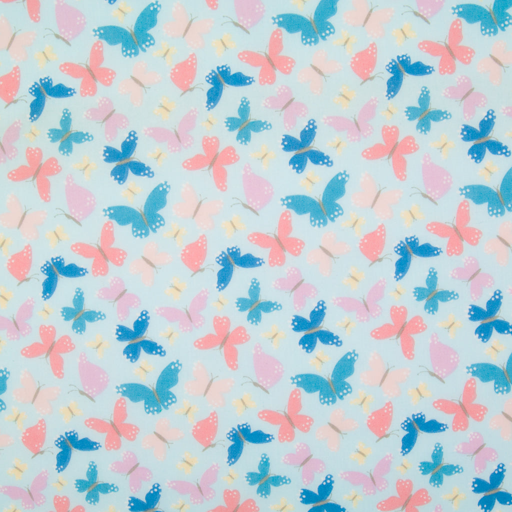 Butterflies on Sky Blue - Polycotton Fabric