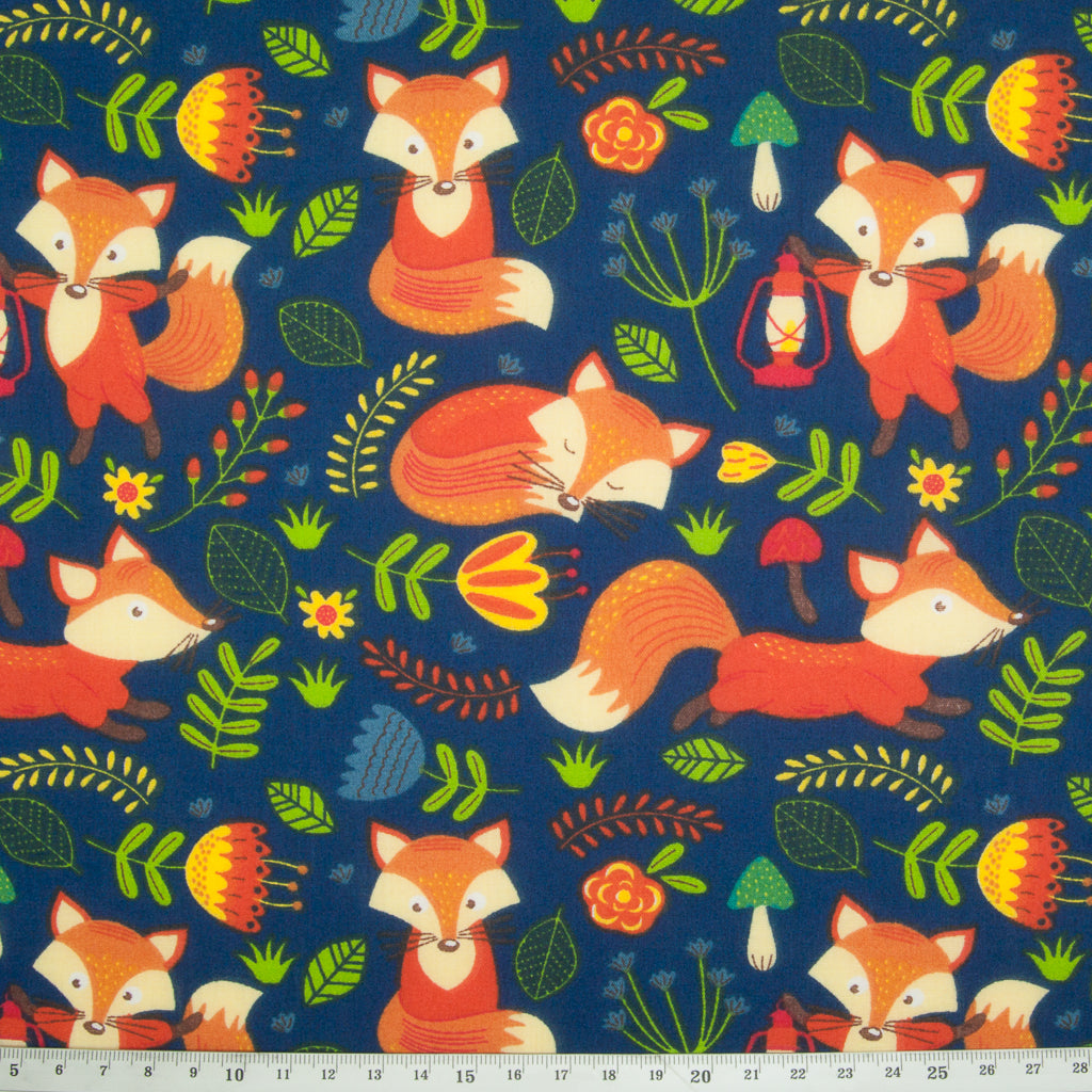 Fox on Navy - Polycotton Fabric