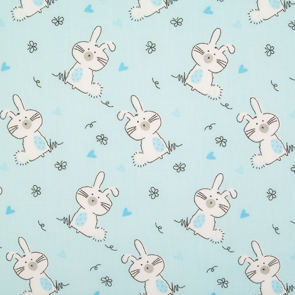 Bunny Rabbit on Blue - Polycotton