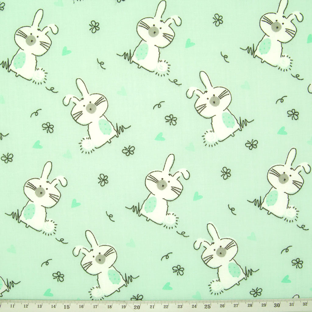 Bunny Rabbit on Mint - Polycotton