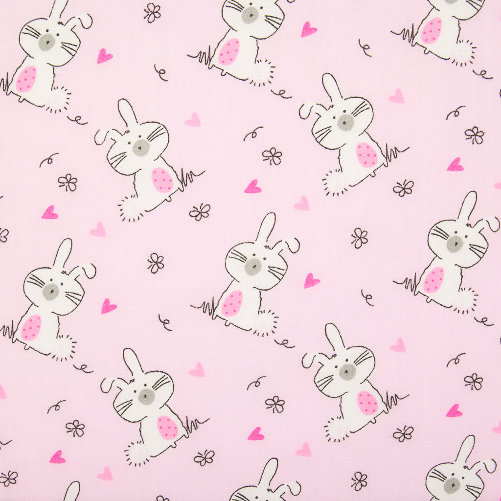 Bunny Rabbit on Pink - Polycotton