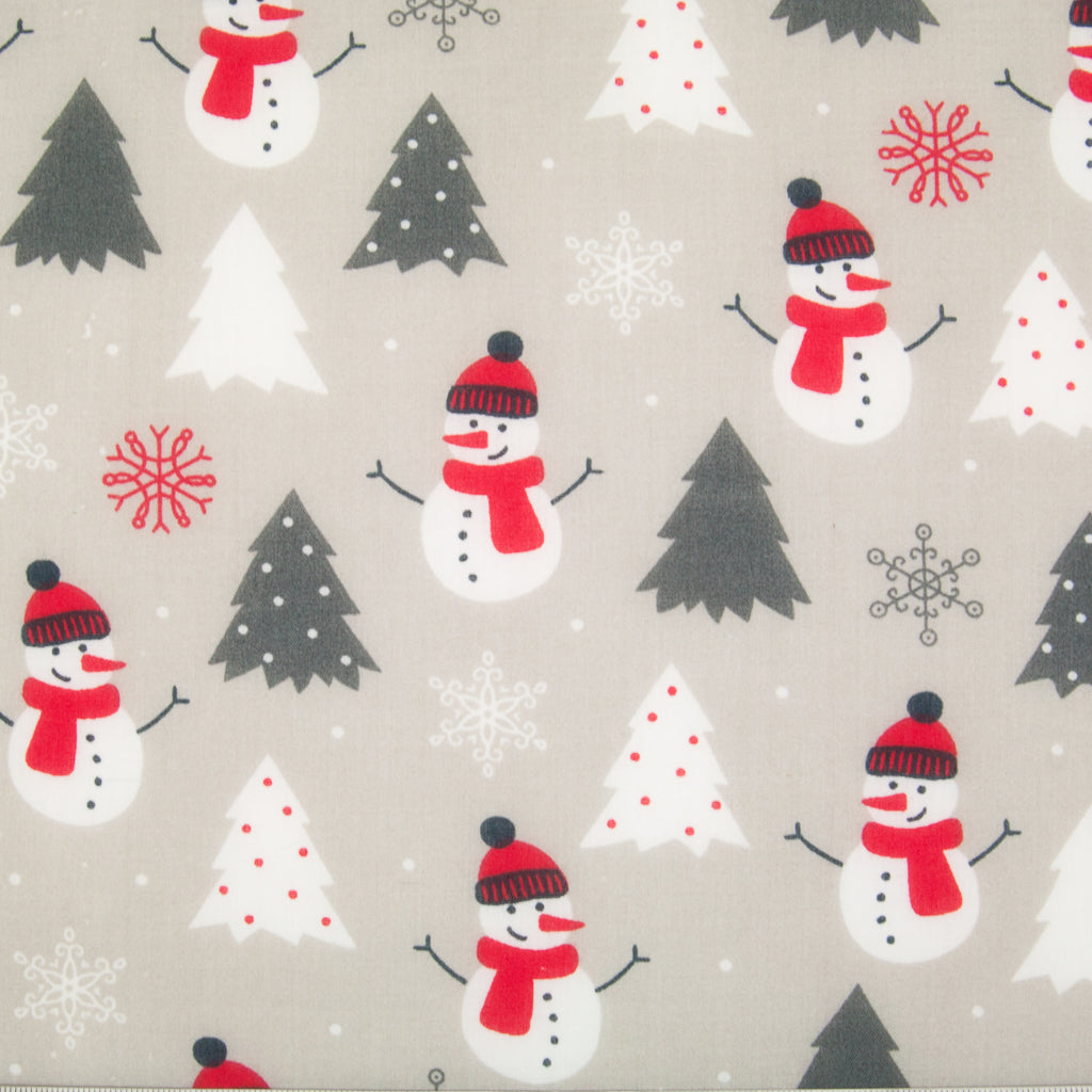 White snowmen wearing red scarf and bobble hat on a silver polycotton christmas fabric