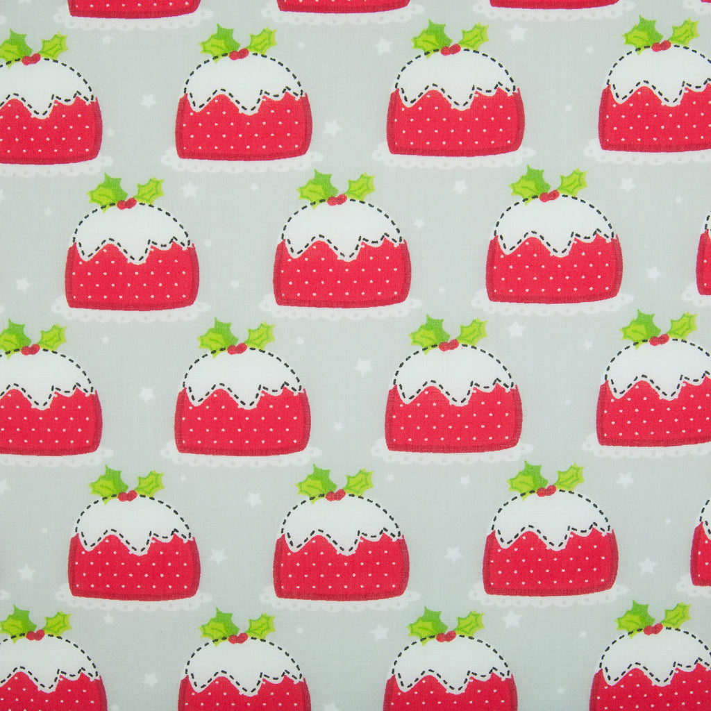 Christmas Puds on Silver - Christmas Polycotton