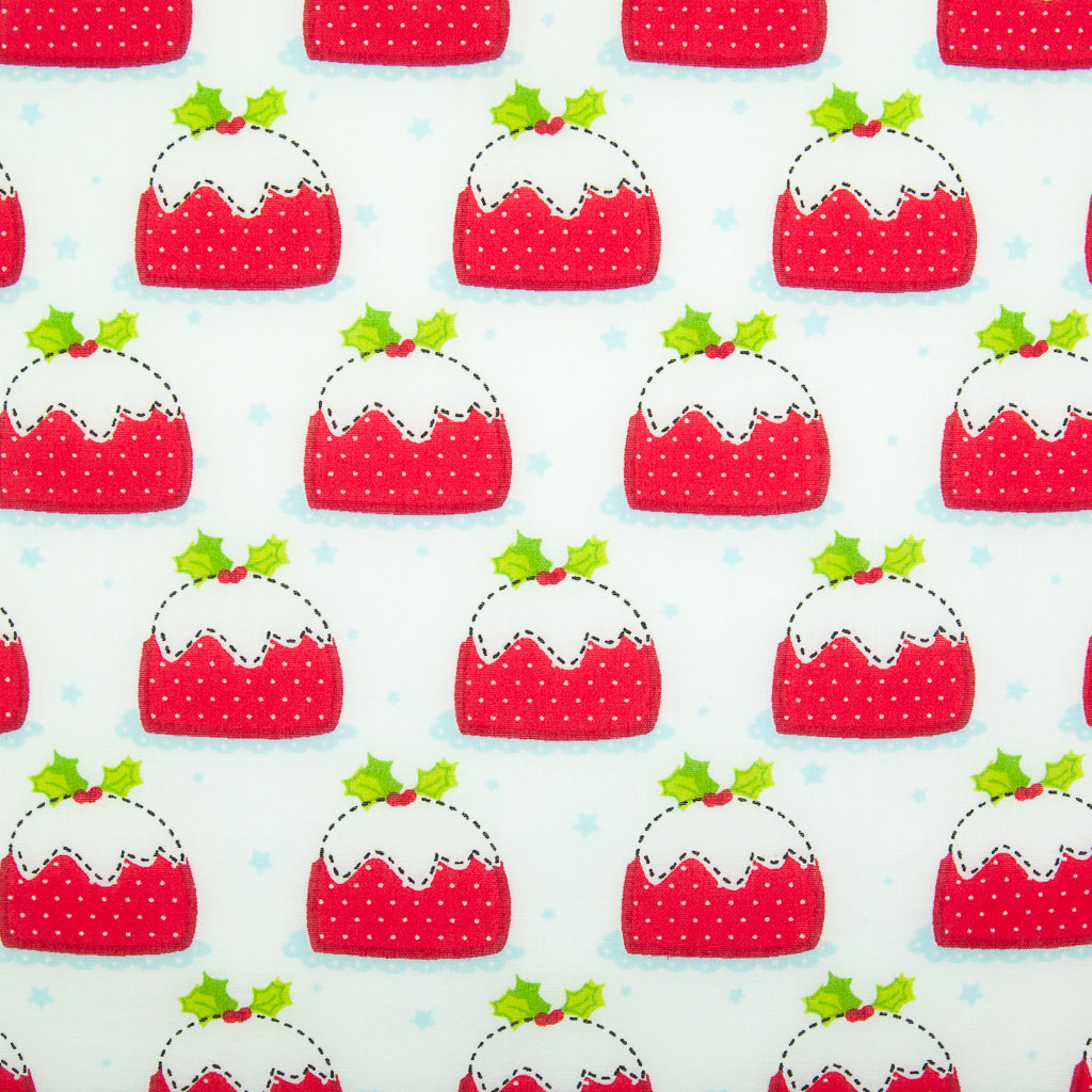 Christmas Puds on White - Christmas Polycotton