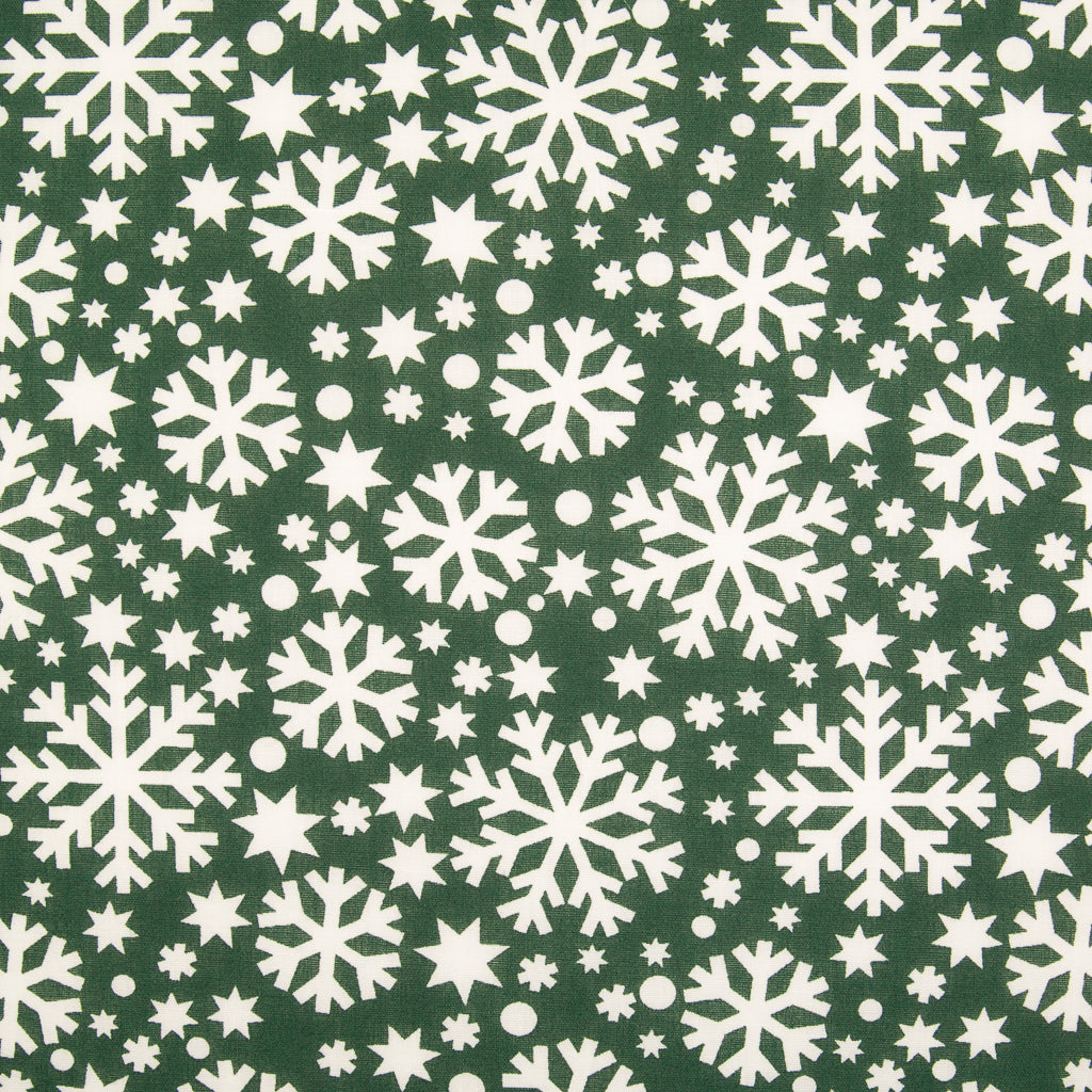 White Snowflakes on Green - Christmas Polycotton