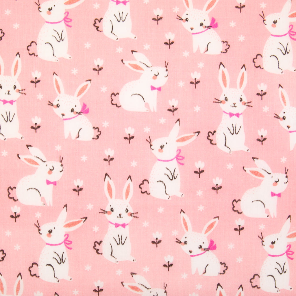 Bow-tie Bunny on Pink - Polycotton Fabric