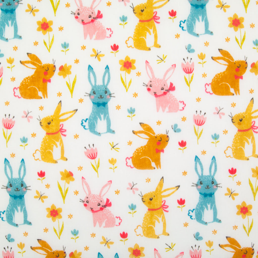 Bow-tie Bunny on White - Polycotton Fabric