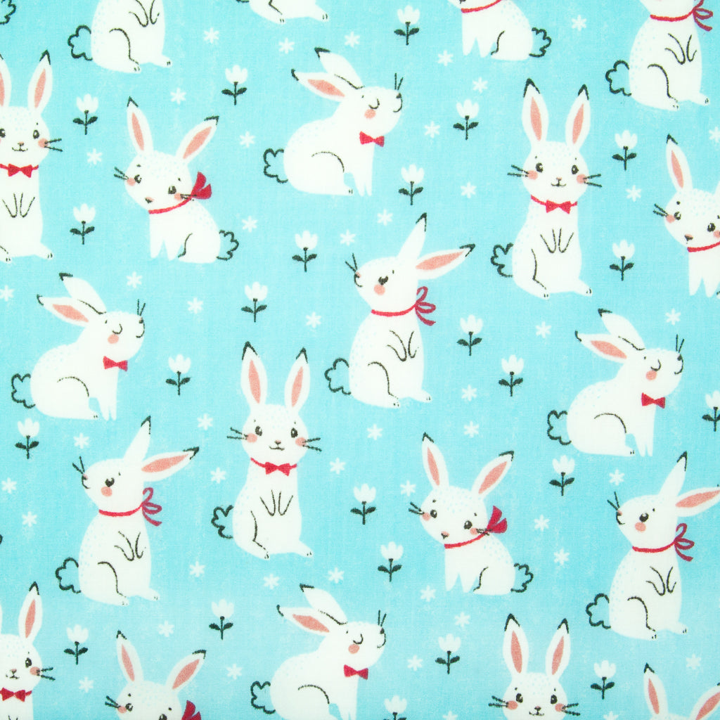 Bow-tie Bunny on Blue - Polycotton Fabric