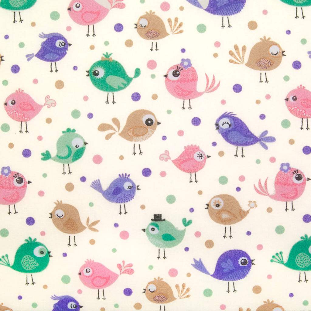 Birds & Spots - Polycotton Fabric