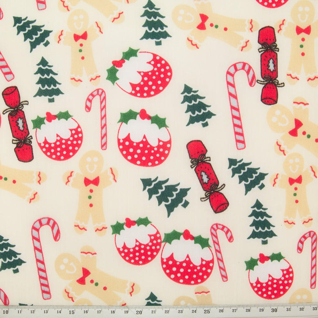 Gingerbread Man & Christmas Crackers - Christmas Polycotton