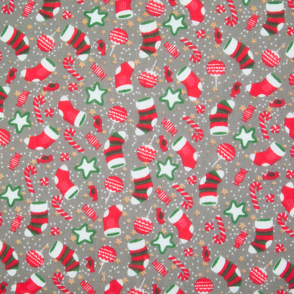Stockings, Stars & Candy Canes on Grey - Christmas Polycotton