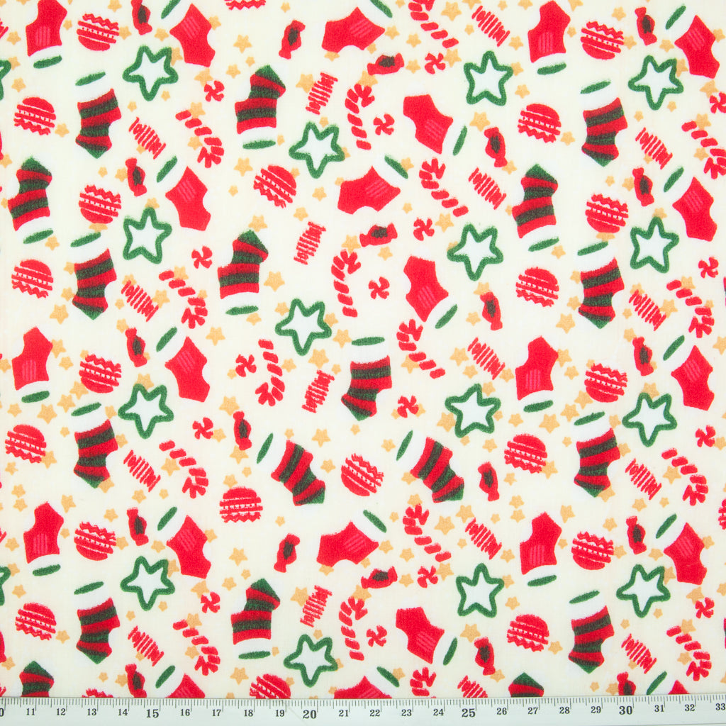 Stockings, Stars & Candy Canes on Ivory - Christmas Polycotton