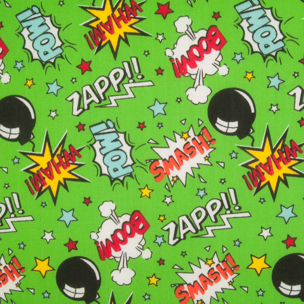 Superhero Smash - Green - Polycotton Fabric
