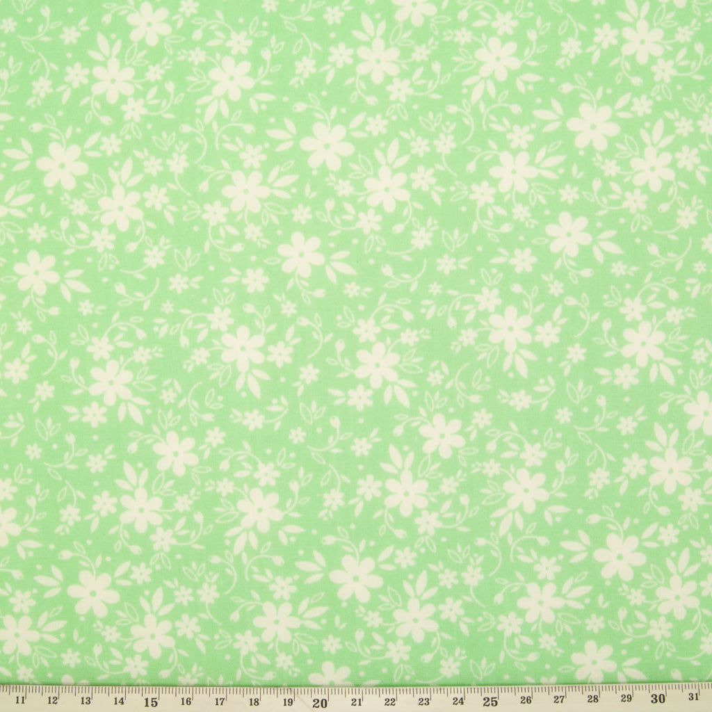 White Ditsy Floral on Green - Polycotton