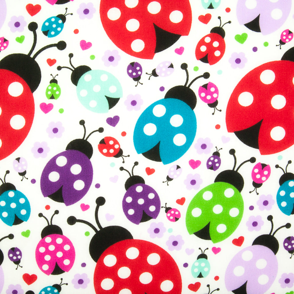 Large Spotty Ladybird - Polycotton Fabric