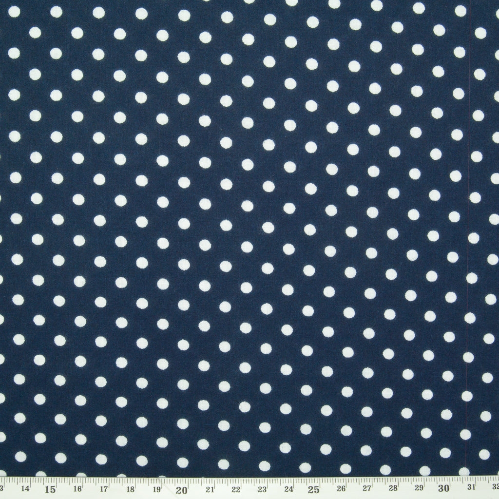 Pea Spot - 4mm White Spots on Navy Blue