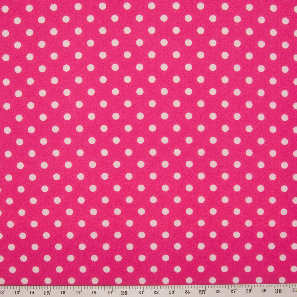 Pea Spot - 4mm White Spots on Cerise Pink