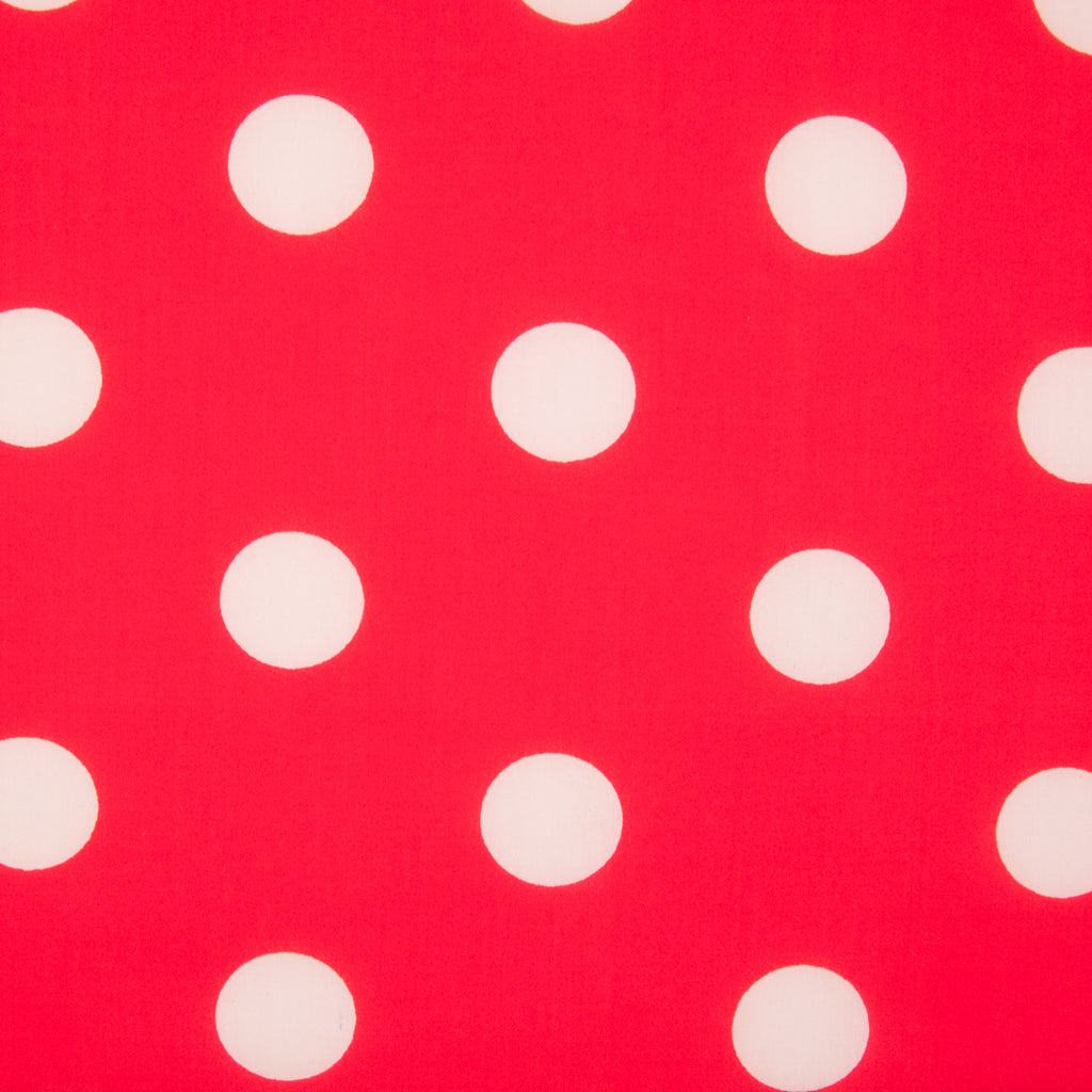 White on Red 25mm Spot - Polycotton