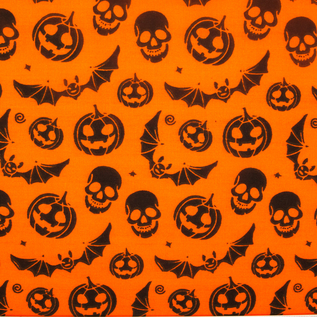 Pumpkin, Bat & Skull on Orange - Halloween Polycotton